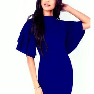 Tiered Sleeve Navy Blue Bodycon Small
